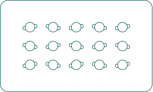 Fifteen person reception layout