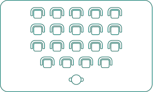 Twenty person theatre layout