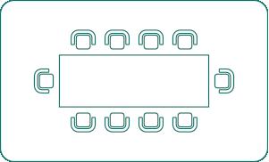 Ten person boardroom layout