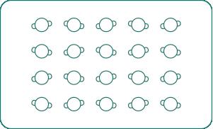 Twenty person reception layout